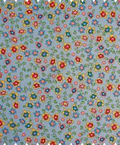 Pansies-on-Blue-Cotton