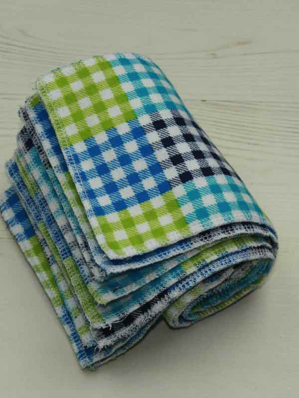 Blue Checked - Family cloth - Set of 9 | Luna Landings