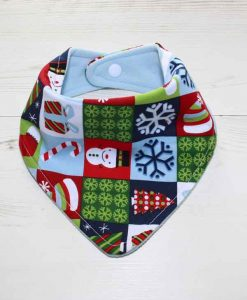 Christmas Festive Checkerboard Cotton Dribble Bib 1