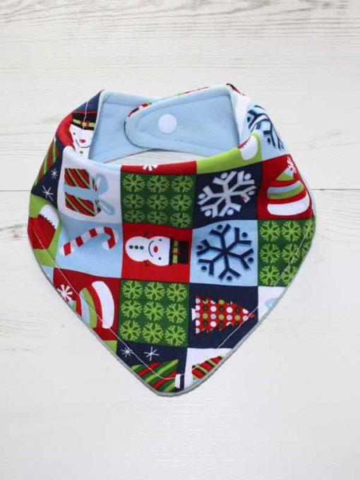 Christmas Festive Checkerboard Cotton Dribble Bib