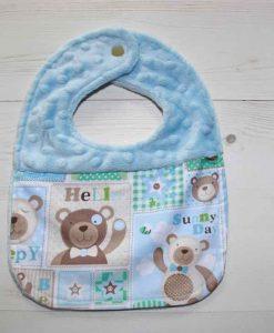 Baby Bear Cotton Dimple Plush Splice Rear Snap Bib 1