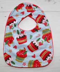 Christmas Cupcakes Cotton Rear Snap Bib