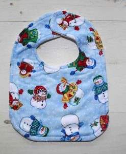 Christmas Snowmen Cotton Rear Snap Bib 1
