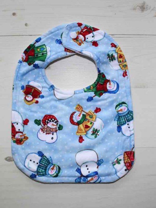 Christmas Snowmen Cotton Rear Snap Bib 1