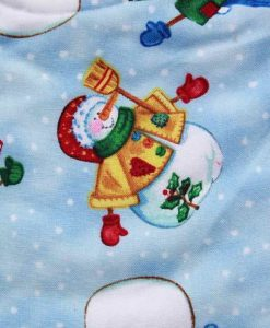 Christmas Snowmen Cotton Rear Snap Bib
