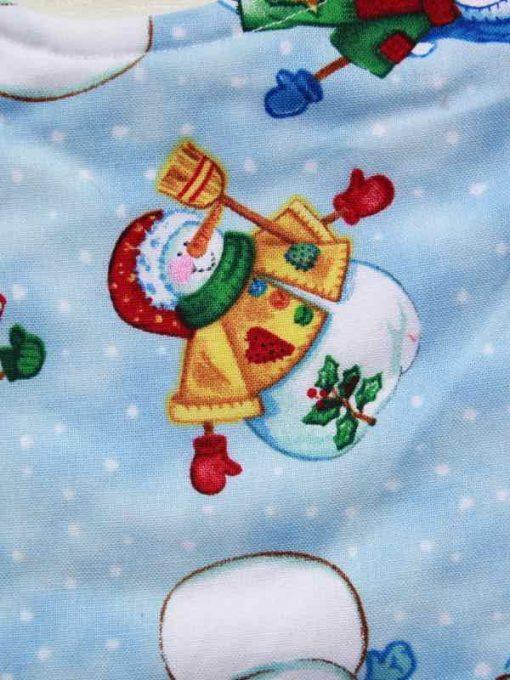 Christmas Snowmen Cotton Rear Snap Bib