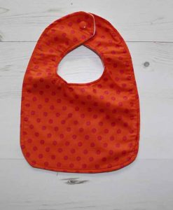 Orange with Pink Dots Cotton Rear Snap Bib 1