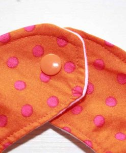Orange with Pink Dots Cotton Rear Snap Bib