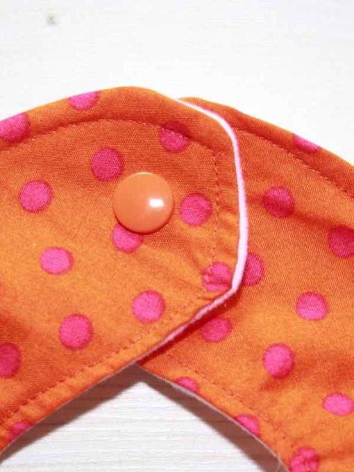 Orange with Pink Dots Cotton Rear Snap Bib