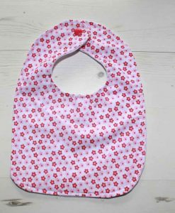 Pink Flowers Cotton Rear Snap Bib