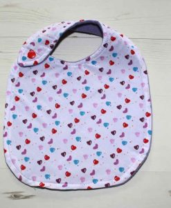 Love Hearts Cotton Side Snap Bib 1