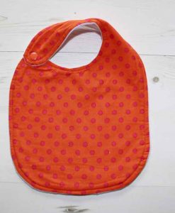 Orange with Pink Dots Cotton Side Snap Bib