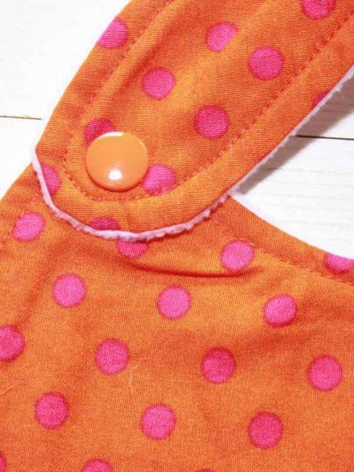 Orange with Pink Dots Cotton Side Snap Bib