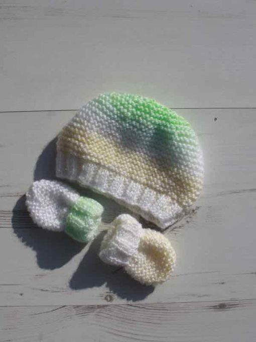 Lemon and Lime Tie-Dye Hat and Mittens – 0-3 months