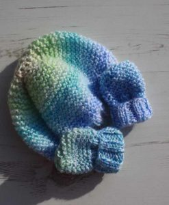 Orange Burst Tie-Dye Hat and Mittens – 0-3 months