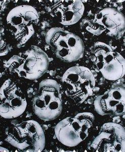 Skulls on Black Cotton