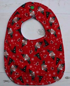 Festive Foxes Cotton Rear Snap Bib