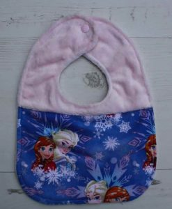 Anna and Elsa Cotton Splice Rear Snap Bib