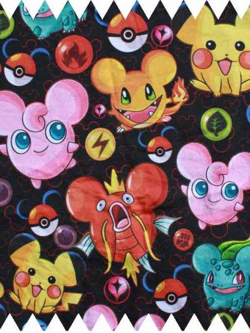 Pokemon on Black Cotton Jersey
