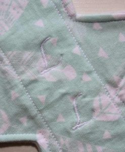 11″ Slim Sub Liner cloth pad | Mint Feathers Cotton Jersey | Silver Grey Wind Pro Fleece 2