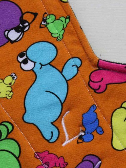 14″ Double Flare Regular Flow cloth pad | Wiggly Woos Cotton Jersey | Black Wind Pro Fleece 2
