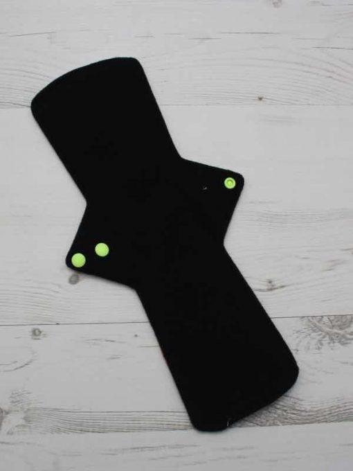 14″ Double Flare Regular Flow cloth pad | Wiggly Woos Cotton Jersey | Black Wind Pro Fleece 3