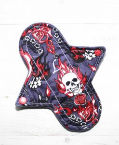 8-inch-Liner-cloth-menstrual-pad-Flaming-Skulls-Cotton-and-Wind-Pro-fleece_1