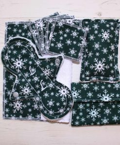 Snowflakes on Green Cotton Gift Box