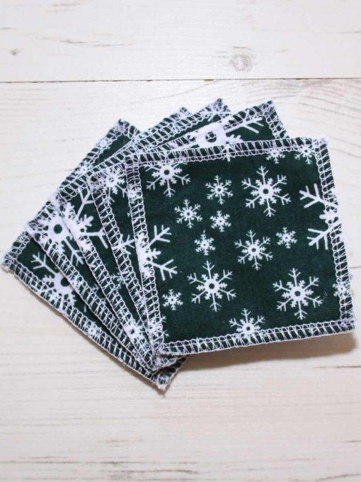 Snowflakes on Green Cotton Gift Box