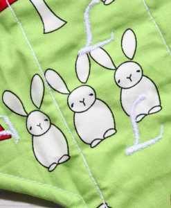 10″ Sub Light Flow cloth pad | Bunnies on Mint Cotton | Mint Wind Pro Fleece 2