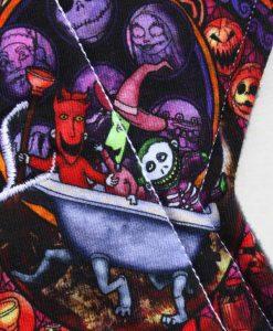 "12"" Sub Regular Flow cloth pad | Nightmare Before Christmas Glass Cotton Jersey | Indigo Wind Pro Fleece"
