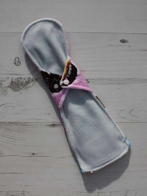 14″ Flared Sub Heavy Flow cloth pad | Cupcakes Plush | Silver Grey Wind Pro Fleece 4