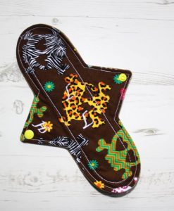 10″ Heavy Flow cloth pad | Day of the Dead Brown Cotton | Brown Wind Pro Fleece | Luna Landings | Sub 1