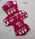 "10"" Overnight Extra Heavy Flow cloth pad | Bunnies on Fuchsia Cotton | Pink Polar Fleece |"