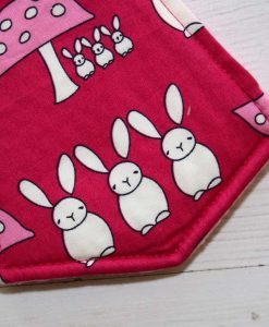 10″ Overnight Extra Heavy Flow cloth pad | Bunnies on Fuchsia Cotton | Pink Polar Fleece | 2