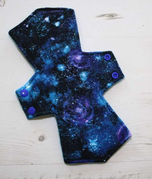 "10"" Overnight Extra Heavy Flow cloth pad | Distant Galaxies Cotton | Azure Polar Fleece |"