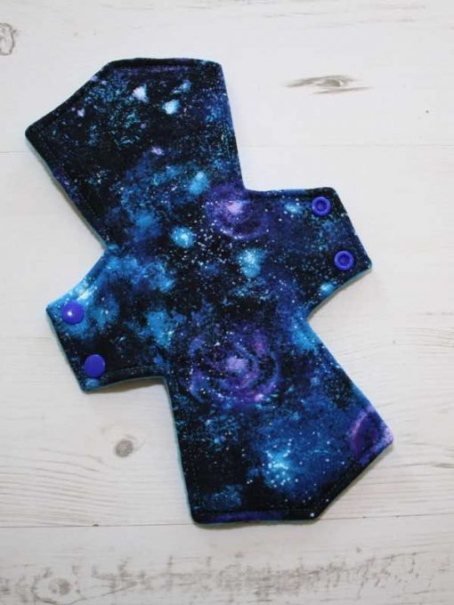 10″ Overnight Extra Heavy Flow cloth pad | Distant Galaxies Cotton | Azure Polar Fleece | 1