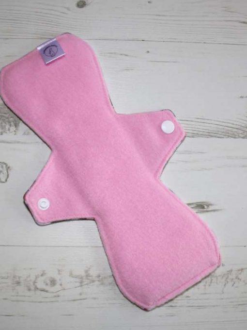 10″ Regular Flow cloth pad | Piggy in the Middle Cotton Jersey | Pink Polar Fleece | Standard 3