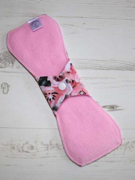 10″ Regular Flow cloth pad | Piggy in the Middle Cotton Jersey | Pink Polar Fleece | Standard 4