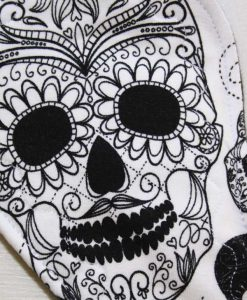 11″ Regular Flow cloth pad | Day of the Dead Two Tone Cotton Jersey | Black Polar Fleece | 2