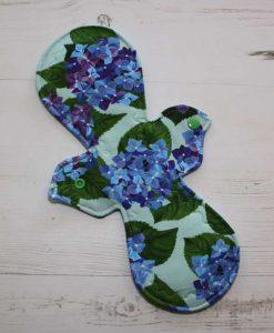 12″ Heavy Flow cloth pad   Bue Posy Cotton Jersey   Aqua Polar Fleece   1