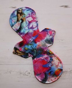 12″ Regular Flow cloth pad   Mermaid Cotton Jersey   Bright Pink Polar Fleece   1
