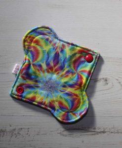6″ Light Flow cloth pad | Kaleidoscope Cotton Jersey | Purple Polar Fleece | 1