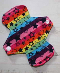 7″ Liner cloth pad | Rainbow Stars Cotton Jersey | Navy Needlecord | 1