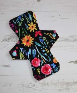 8″ Liner cloth pad | Black Flowers Cotton | Sunrise Needlecord | Standard 1