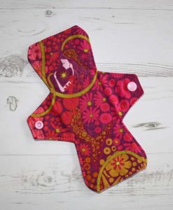 8″ Liner cloth pad | Flower Power Girl Cotton | Pink Flower Needlecord | Standard 1
