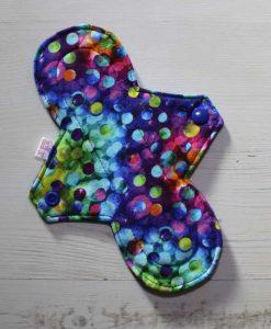 8″ Regular Flow cloth pad   Space Bubbles Cotton Jersey   Purple Polar Fleece   1