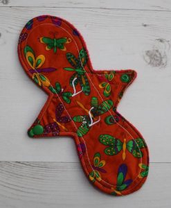 10″ Liner cloth pad | Indian Butterflies Cotton | Red Polar Fleece | Luna Landings | Slim Sub 1