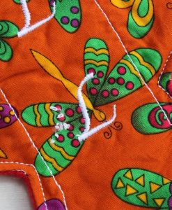 10″ Liner cloth pad | Indian Butterflies Cotton | Red Polar Fleece | Luna Landings | Slim Sub 2