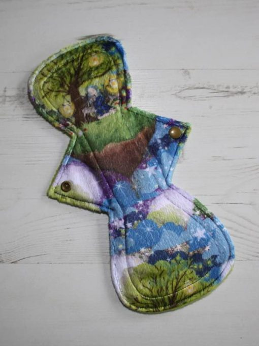 11-inch-Overnight-Extra-Heavy-Flow-cloth-menstrual-pad-Stargazing-Plush-and-Lime-Polar-Fleece-Aunt-Irma's-Curvy-Moonglow_1
